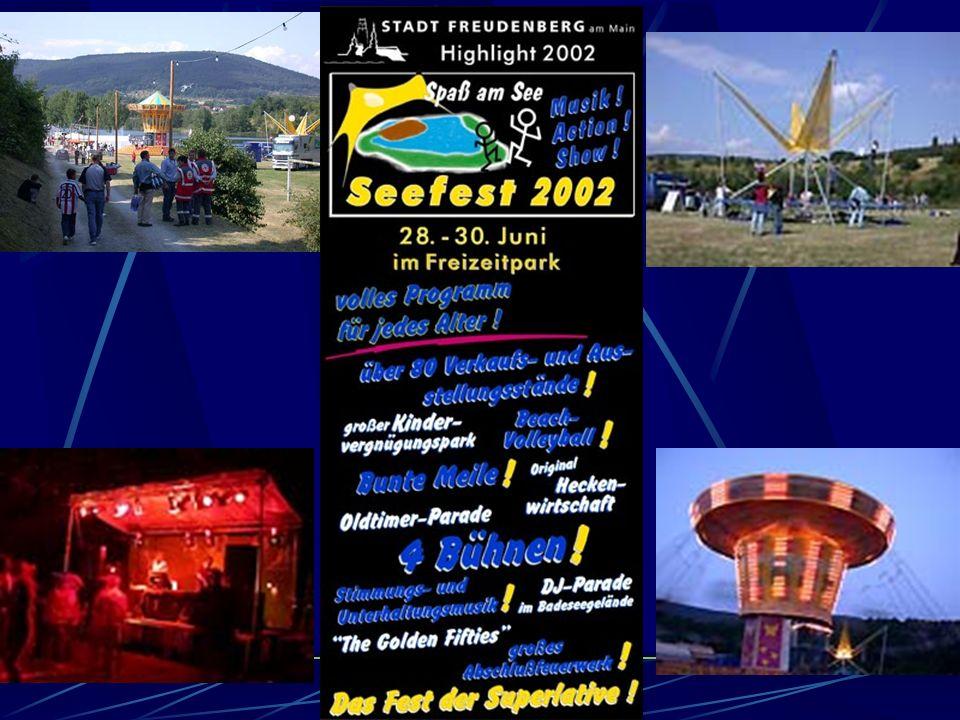 Seefest 1998 Es findet erstmalig vom 12. bis 14. Juni das große Seefest ´98 im Bereich Bade- und Freizeitsee, dem sogenannten Freizeitpark, statt. Aus