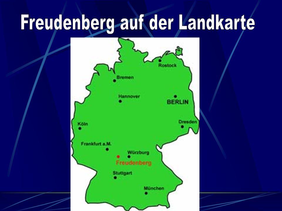 Lage von Freudenberg am Main Freudenberg am Main ist die nordwestlichste Stadt in Baden- Württemberg und hat eine Gemarkungsfläche von 3478 ha (Längengrad = 9°19`50* ö.