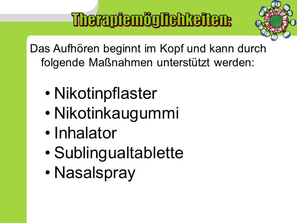 Das Aufhören beginnt im Kopf und kann durch folgende Maßnahmen unterstützt werden: Nikotinpflaster Nikotinkaugummi Inhalator Sublingualtablette Nasals