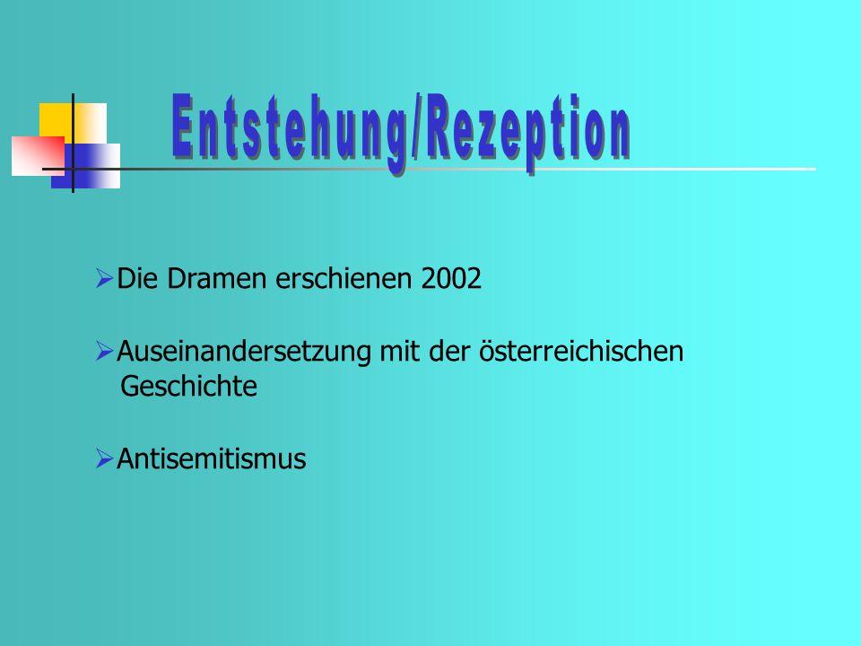 Die Dramen erschienen 2002 Auseinandersetzung mit der österreichischen Geschichte Antisemitismus