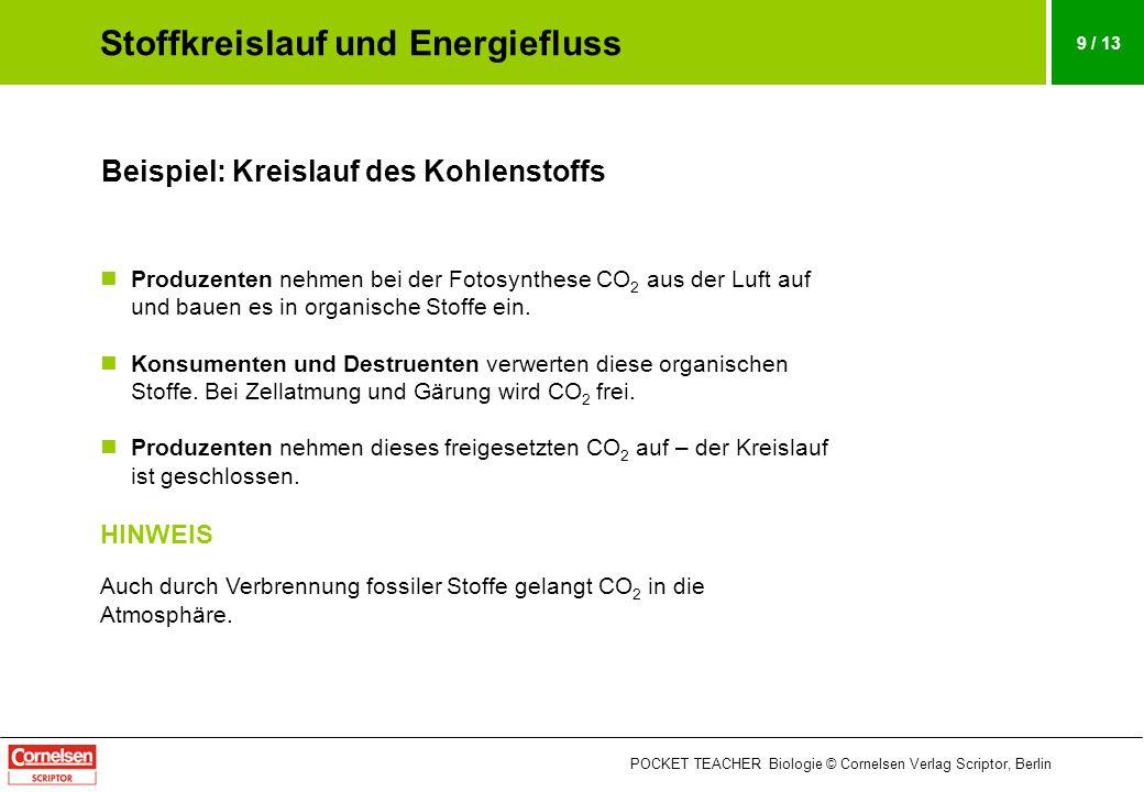 POCKET TEACHER Biologie © Cornelsen Verlag Scriptor, Berlin 9 / 13 Beispiel: Kreislauf des Kohlenstoffs Produzenten nehmen bei der Fotosynthese CO 2 a
