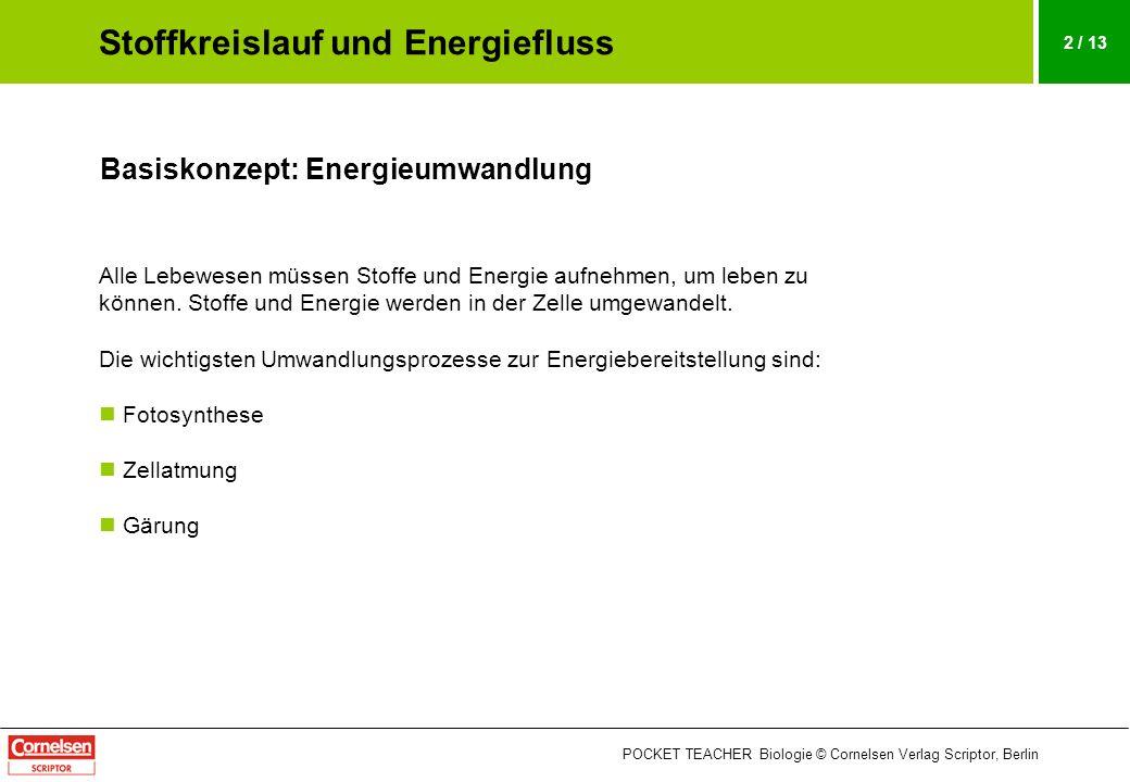 POCKET TEACHER Biologie © Cornelsen Verlag Scriptor, Berlin 13 / 13 Schema: Stoffkreislauf und Energiefluss Der Energiefluss, der von der Sonne ausgeht, treibt die Stoffkreisläufe im Ökosystem an.