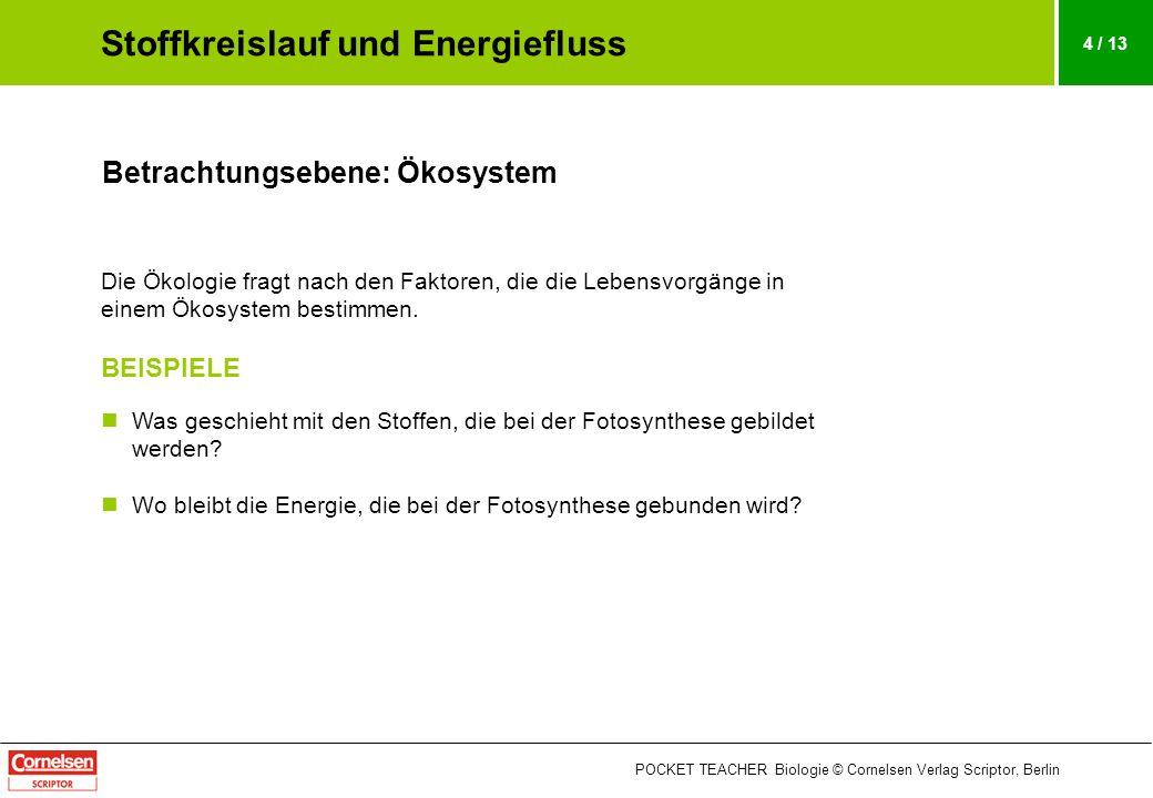POCKET TEACHER Biologie © Cornelsen Verlag Scriptor, Berlin 4 / 13 Betrachtungsebene: Ökosystem Die Ökologie fragt nach den Faktoren, die die Lebensvo