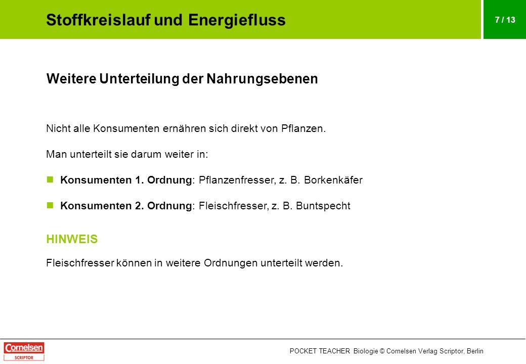 POCKET TEACHER Biologie © Cornelsen Verlag Scriptor, Berlin 7 / 13 Weitere Unterteilung der Nahrungsebenen Nicht alle Konsumenten ernähren sich direkt