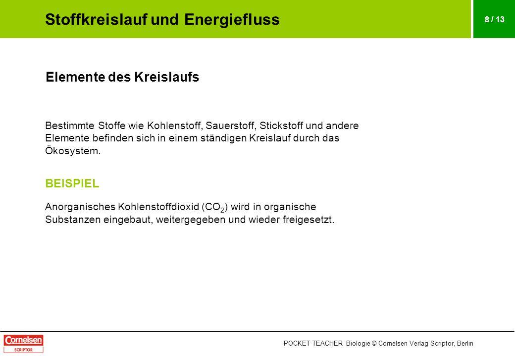 POCKET TEACHER Biologie © Cornelsen Verlag Scriptor, Berlin 9 / 13 Beispiel: Kreislauf des Kohlenstoffs Produzenten nehmen bei der Fotosynthese CO 2 aus der Luft auf und bauen es in organische Stoffe ein.