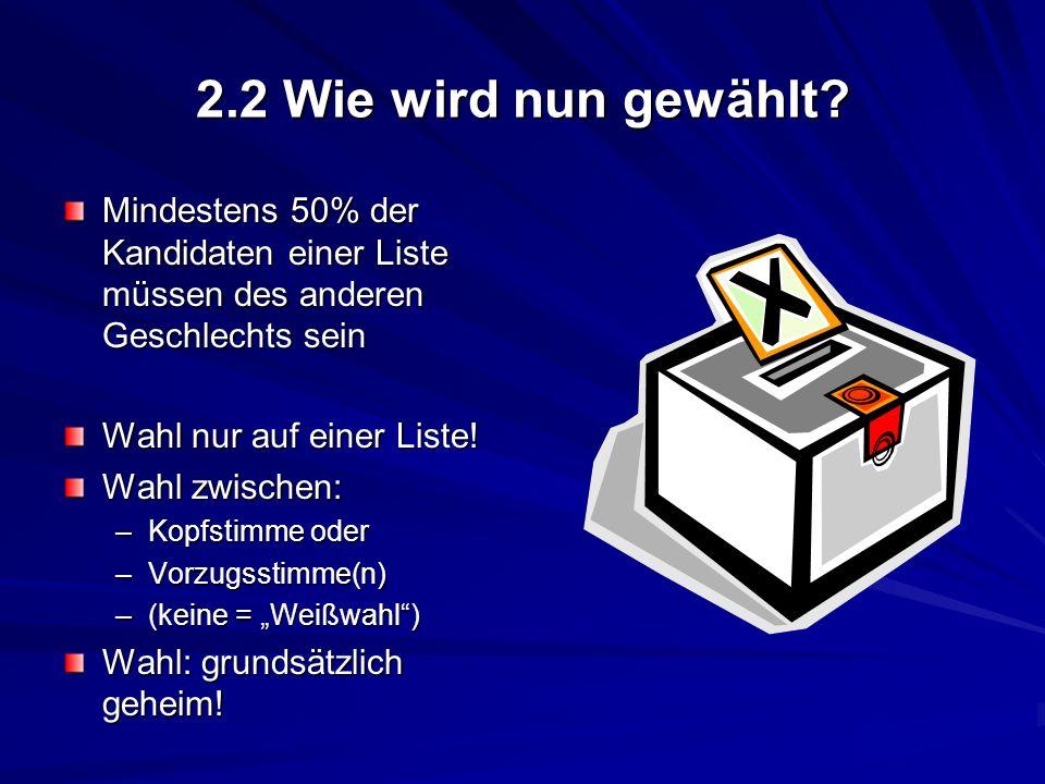 2.2 Wie wird nun gewählt? Mindestens 50% der Kandidaten einer Liste müssen des anderen Geschlechts sein Wahl nur auf einer Liste! Wahl zwischen: –Kopf
