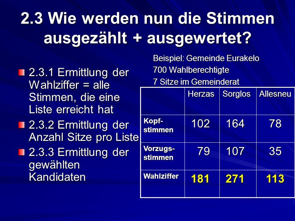 2.3 Wie werden nun die Stimmen ausgezählt + ausgewertet? 2.3.1 Ermittlung der Wahlziffer = alle Stimmen, die eine Liste erreicht hat 2.3.2 Ermittlung