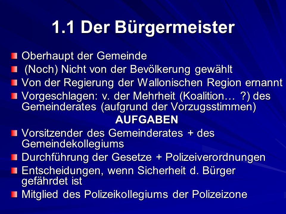 1.1 Der Bürgermeister Oberhaupt der Gemeinde (Noch) Nicht von der Bevölkerung gewählt (Noch) Nicht von der Bevölkerung gewählt Von der Regierung der W