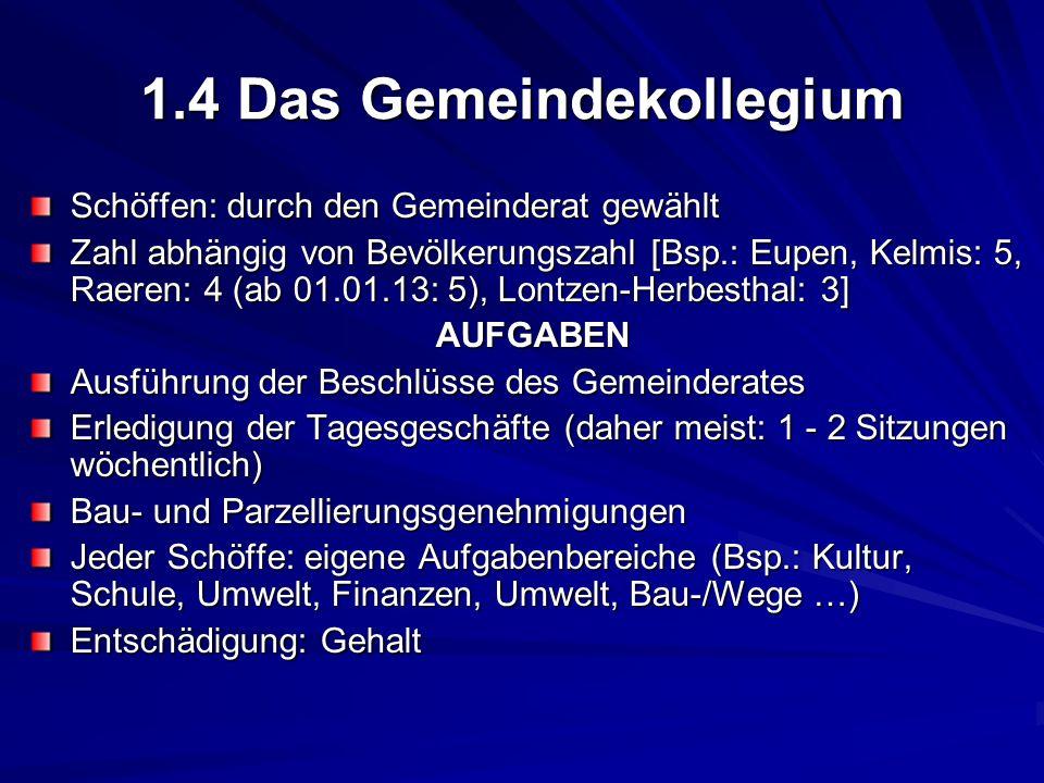 1.4 Das Gemeindekollegium Schöffen: durch den Gemeinderat gewählt Zahl abhängig von Bevölkerungszahl [Bsp.: Eupen, Kelmis: 5, Raeren: 4 (ab 01.01.13: