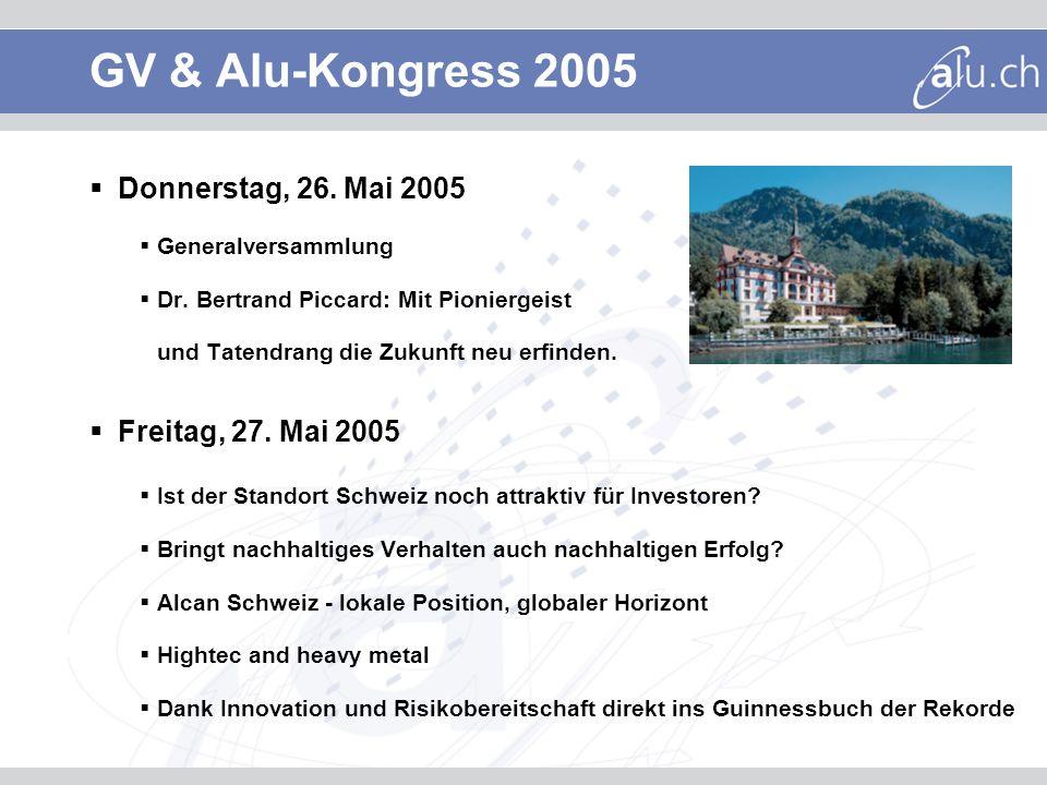 GV & Alu-Kongress 2005 Donnerstag, 26. Mai 2005 Generalversammlung Dr. Bertrand Piccard: Mit Pioniergeist und Tatendrang die Zukunft neu erfinden. Fre