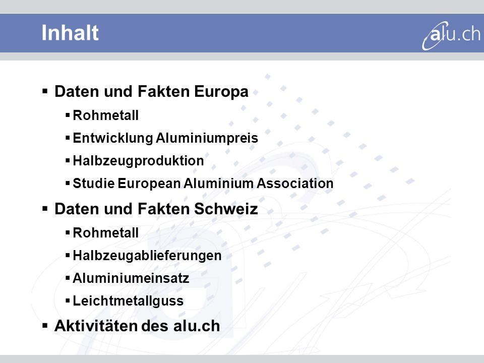 Inhalt Daten und Fakten Europa Rohmetall Entwicklung Aluminiumpreis Halbzeugproduktion Studie European Aluminium Association Daten und Fakten Schweiz