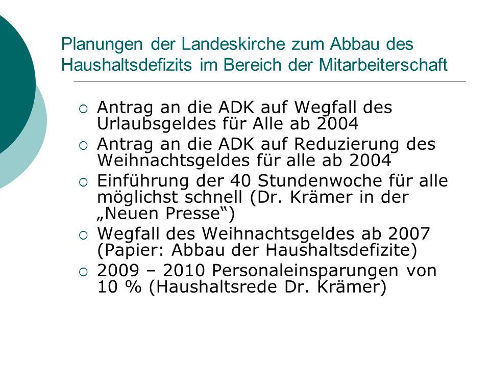 Planungen der Landeskirche zum Abbau des Haushaltsdefizits im Bereich der Mitarbeiterschaft Antrag an die ADK auf Wegfall des Urlaubsgeldes für Alle a