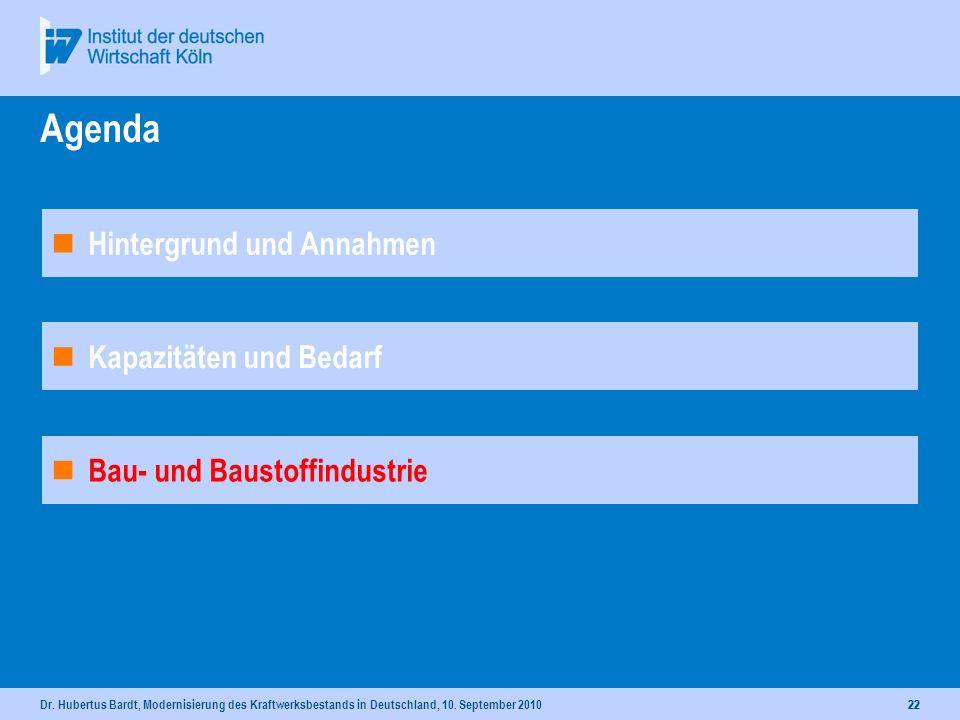 Dr. Hubertus Bardt, Modernisierung des Kraftwerksbestands in Deutschland, 10. September 201021 In Bau befindliche Kraftwerke Kohle- und Gaskraftwerke