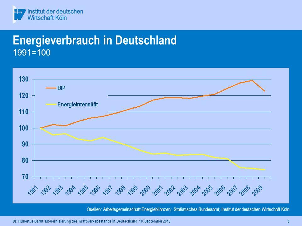 Dr. Hubertus Bardt, Modernisierung des Kraftwerksbestands in Deutschland, 10. September 201022 Energieverbrauch in Deutschland 1991=100 Quellen: Arbei