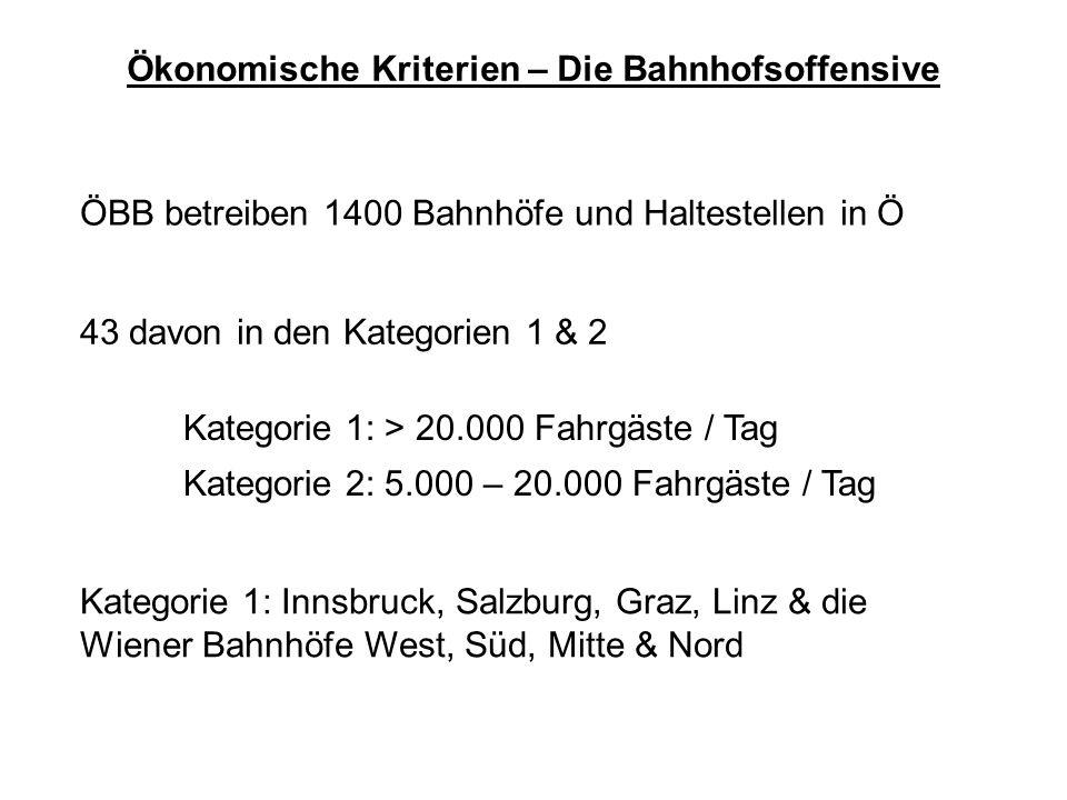 Ökonomische Kriterien – Die Bahnhofsoffensive ÖBB betreiben 1400 Bahnhöfe und Haltestellen in Ö 43 davon in den Kategorien 1 & 2 Kategorie 1: > 20.000 Fahrgäste / Tag Kategorie 2: 5.000 – 20.000 Fahrgäste / Tag Kategorie 1: Innsbruck, Salzburg, Graz, Linz & die Wiener Bahnhöfe West, Süd, Mitte & Nord