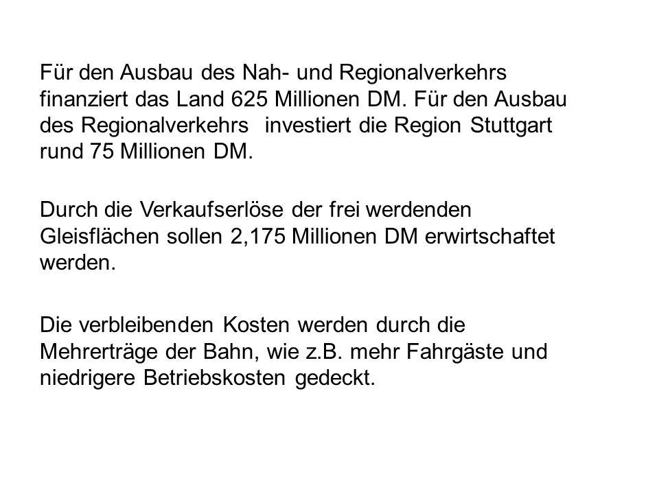 Für den Ausbau des Nah- und Regionalverkehrs finanziert das Land 625 Millionen DM. Für den Ausbau des Regionalverkehrs investiert die Region Stuttgart