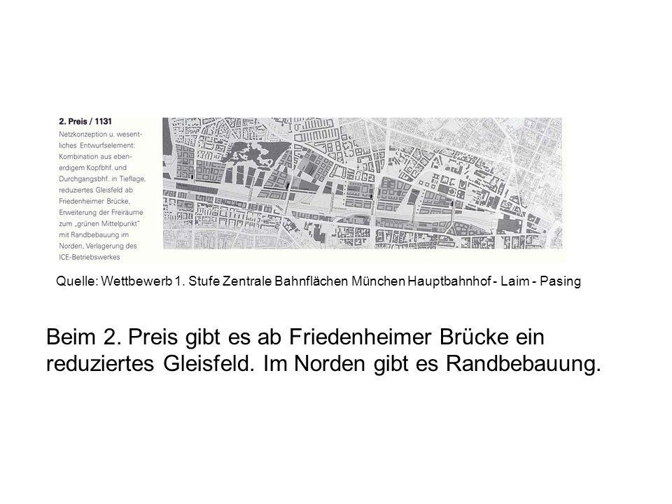 Beim 2. Preis gibt es ab Friedenheimer Brücke ein reduziertes Gleisfeld. Im Norden gibt es Randbebauung. Quelle: Wettbewerb 1. Stufe Zentrale Bahnfläc