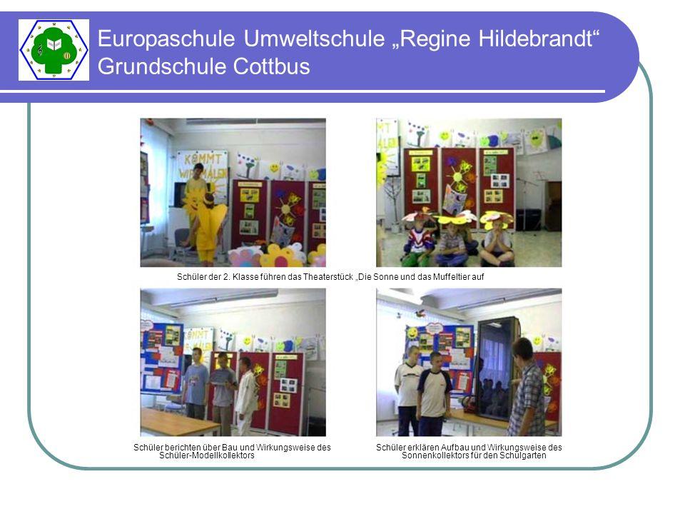 Europaschule Umweltschule Regine Hildebrandt Grundschule Cottbus Schüler berichten über Bau und Wirkungsweise des Schüler-Modellkollektors Schüler erklären Aufbau und Wirkungsweise des Sonnenkollektors für den Schulgarten Schüler der 2.