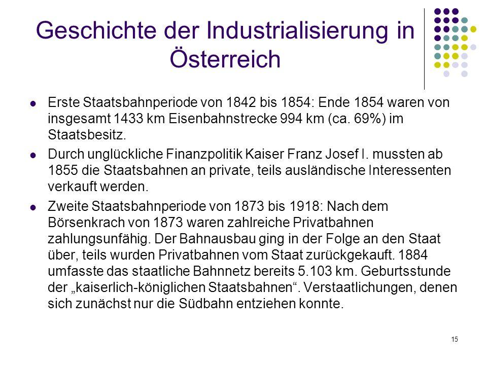 15 Geschichte der Industrialisierung in Österreich Erste Staatsbahnperiode von 1842 bis 1854: Ende 1854 waren von insgesamt 1433 km Eisenbahnstrecke 994 km (ca.