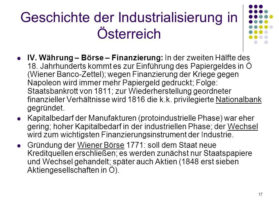 17 Geschichte der Industrialisierung in Österreich IV.