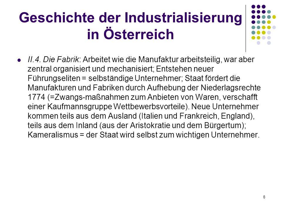 8 Geschichte der Industrialisierung in Österreich II.4.