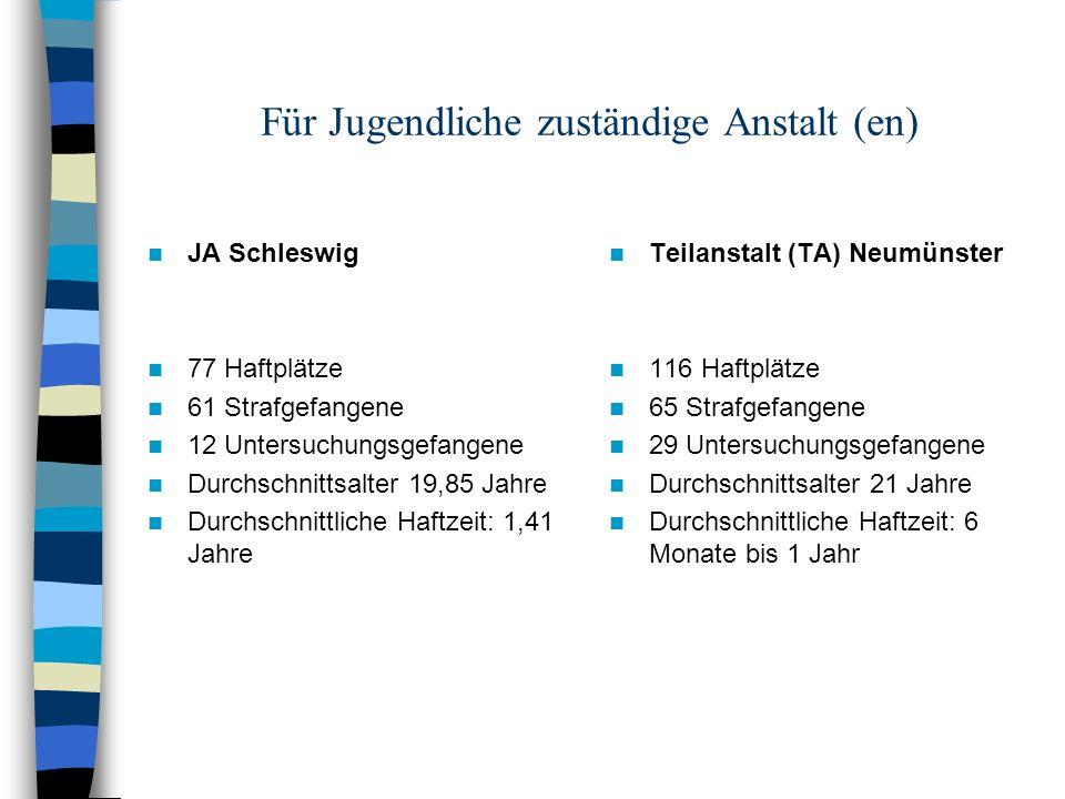Für Jugendliche zuständige Anstalt (en) JA Schleswig 77 Haftplätze 61 Strafgefangene 12 Untersuchungsgefangene Durchschnittsalter 19,85 Jahre Durchsch