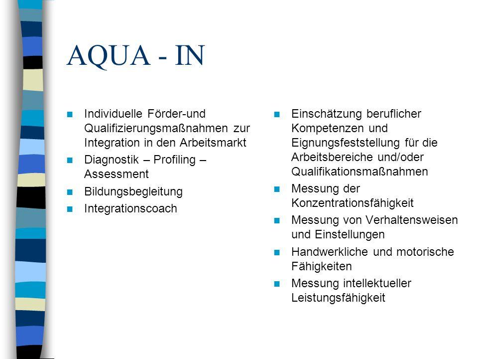 AQUA - IN Individuelle Förder-und Qualifizierungsmaßnahmen zur Integration in den Arbeitsmarkt Diagnostik – Profiling – Assessment Bildungsbegleitung