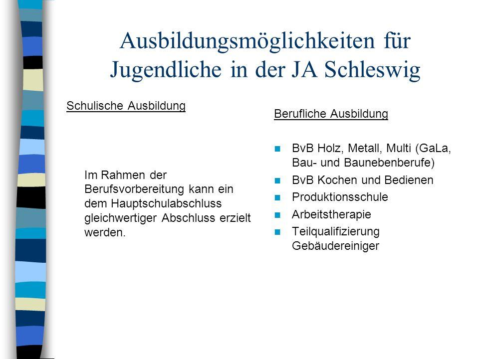 Ausbildungsmöglichkeiten für Jugendliche in der JA Schleswig Schulische Ausbildung Im Rahmen der Berufsvorbereitung kann ein dem Hauptschulabschluss g