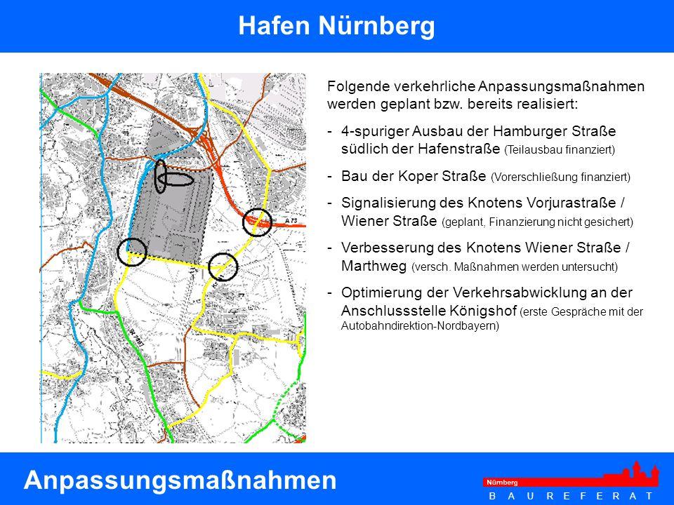B A U R E F E R A T Hafen Nürnberg Folgende verkehrliche Anpassungsmaßnahmen werden geplant bzw. bereits realisiert: - 4-spuriger Ausbau der Hamburger