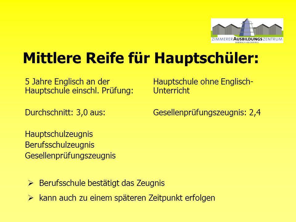Mittlere Reife für Hauptschüler: 5 Jahre Englisch an der Hauptschule einschl.