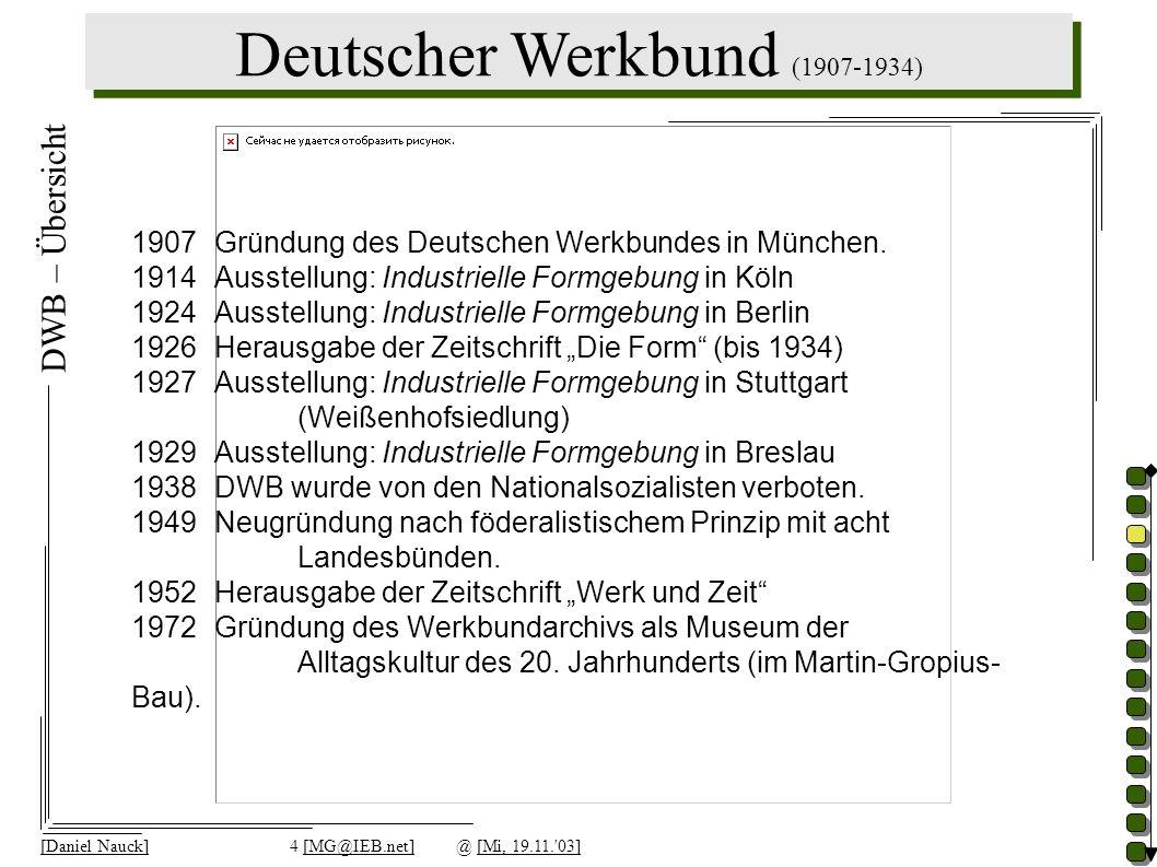 [Daniel Nauck]4 [MG@IEB.net]@ [Mi, 19.11.'03] DWB – Übersicht 1907 Gründung des Deutschen Werkbundes in München. 1914 Ausstellung: Industrielle Formge