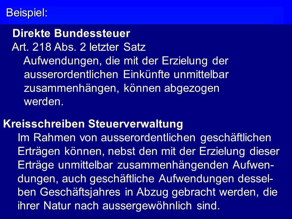 Beispiel Beispiel: Direkte Bundessteuer Art.218 Abs.