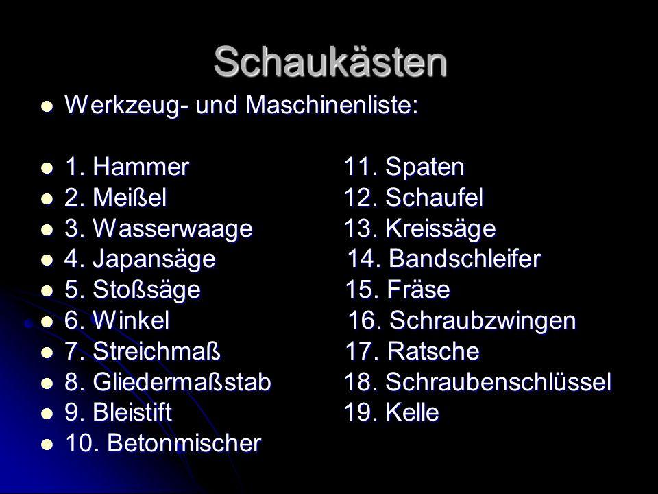 Schaukästen Werkzeug- und Maschinenliste: Werkzeug- und Maschinenliste: 1. Hammer11. Spaten 1. Hammer11. Spaten 2. Meißel 12. Schaufel 2. Meißel 12. S