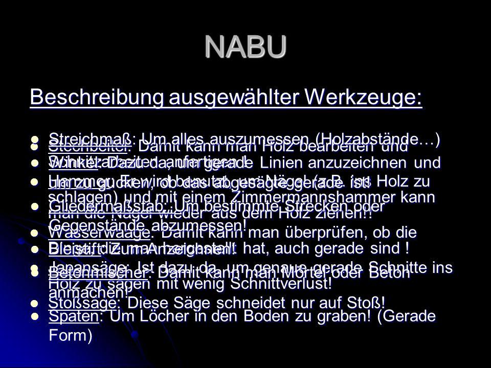 NABU Beschreibung ausgewählter Werkzeuge: Stechbeitel: Damit kann man Holz bearbeiten und Schnitzarbeiten anfertigen ! Stechbeitel: Damit kann man Hol