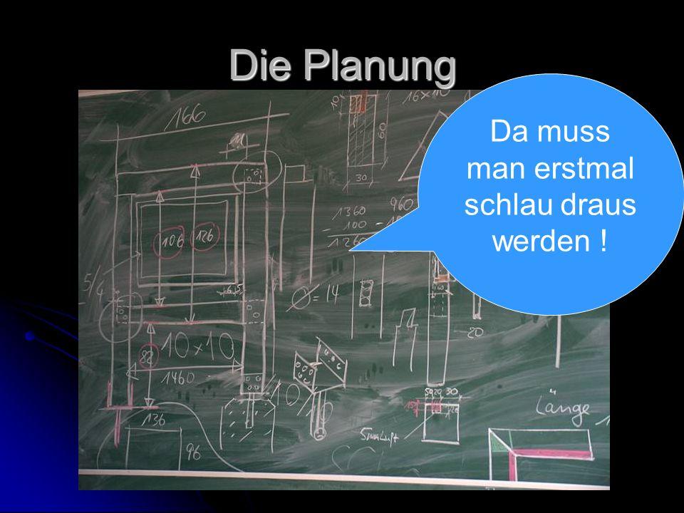 Die Planung Da muss man erstmal schlau draus werden !
