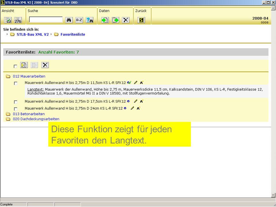 Diese Funktion zeigt für jeden Favoriten den Langtext.