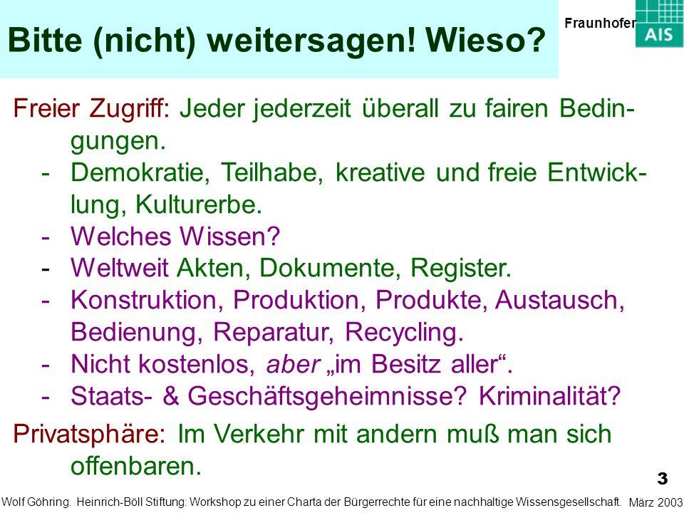 Bitte (nicht) weitersagen! Wieso? 3 März 2003Wolf Göhring. Fraunhofer Heinrich-Böll Stiftung: Workshop zu einer Charta der Bürgerrechte für eine nachh