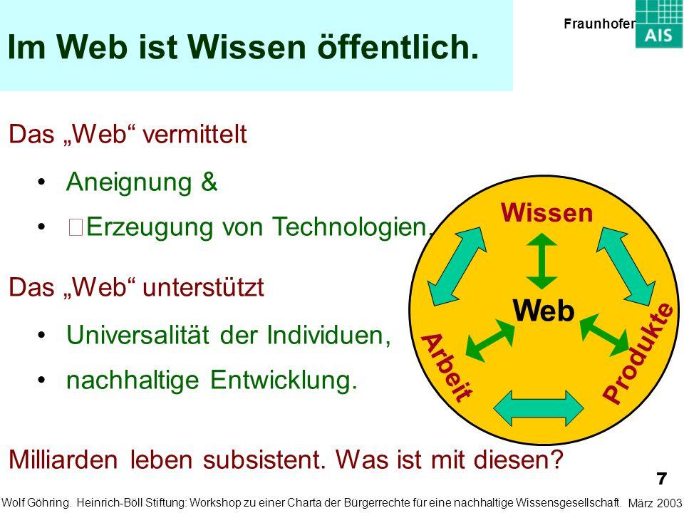 Im Web ist Wissen öffentlich. Das Web vermittelt Aneignung &Erzeugung von Technologien. Das Web unterstützt Universalität der Individuen,nachhaltige E