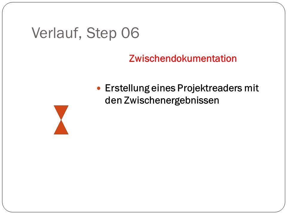 Verlauf, Step 06 Zwischendokumentation Erstellung eines Projektreaders mit den Zwischenergebnissen