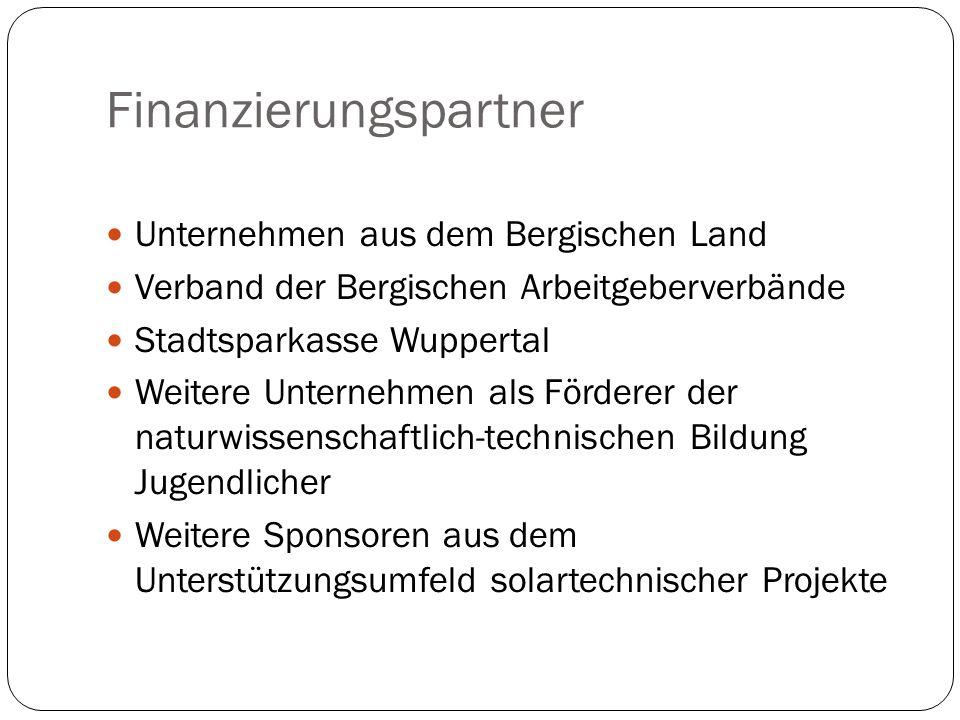 Finanzierungspartner Unternehmen aus dem Bergischen Land Verband der Bergischen Arbeitgeberverbände Stadtsparkasse Wuppertal Weitere Unternehmen als F