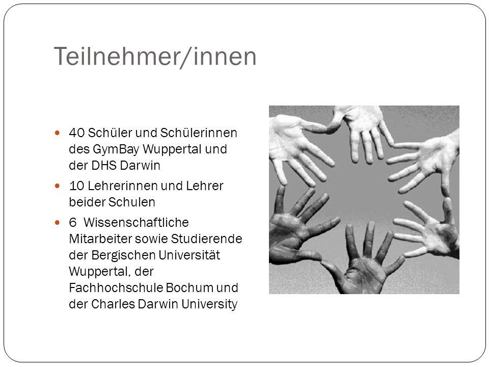 Teilnehmer/innen 40 Schüler und Schülerinnen des GymBay Wuppertal und der DHS Darwin 10 Lehrerinnen und Lehrer beider Schulen 6 Wissenschaftliche Mita