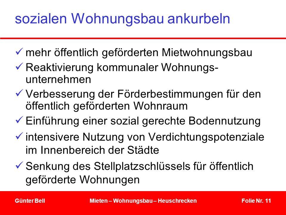 Folie Nr. 11Günter BellMieten – Wohnungsbau – Heuschrecken sozialen Wohnungsbau ankurbeln mehr öffentlich geförderten Mietwohnungsbau Reaktivierung ko