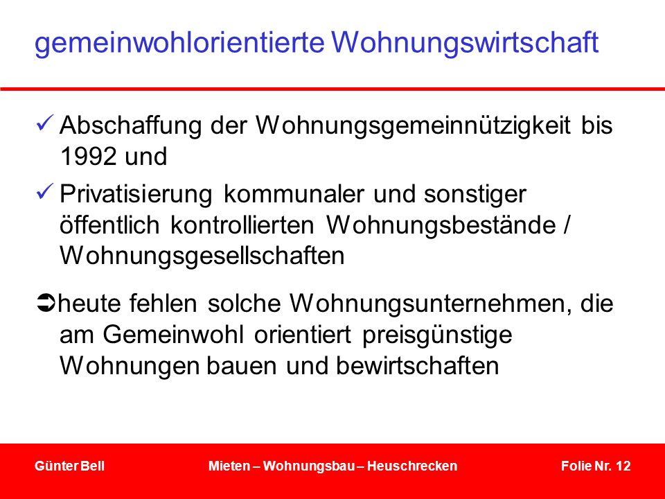 Folie Nr. 12Günter BellMieten – Wohnungsbau – Heuschrecken gemeinwohlorientierte Wohnungswirtschaft Abschaffung der Wohnungsgemeinnützigkeit bis 1992