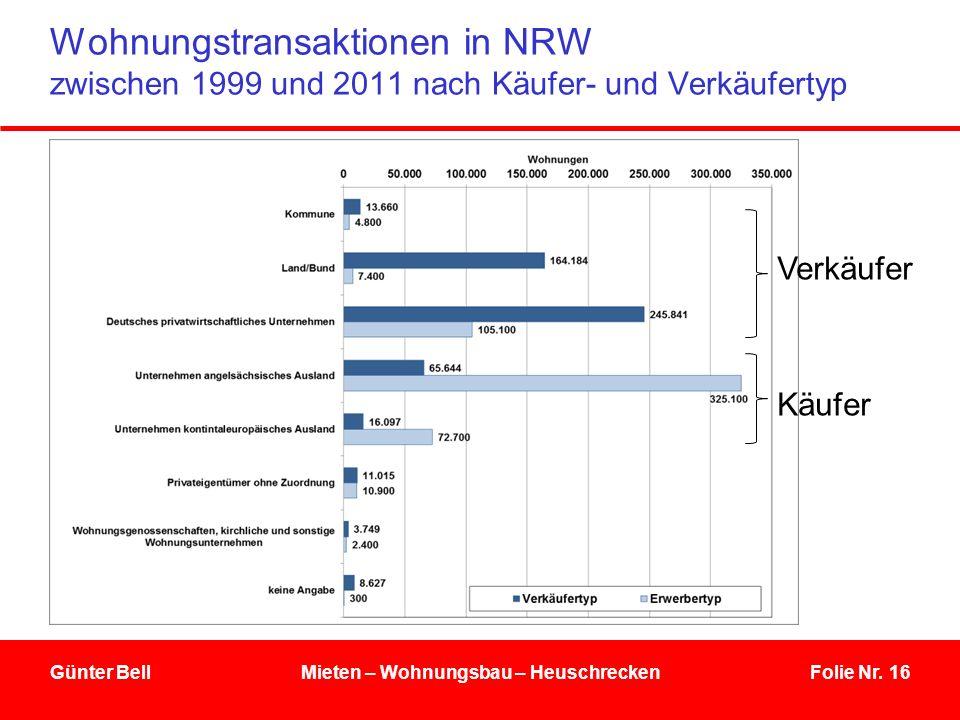 Folie Nr. 16 Wohnungstransaktionen in NRW zwischen 1999 und 2011 nach Käufer- und Verkäufertyp Günter BellMieten – Wohnungsbau – Heuschrecken Käufer V