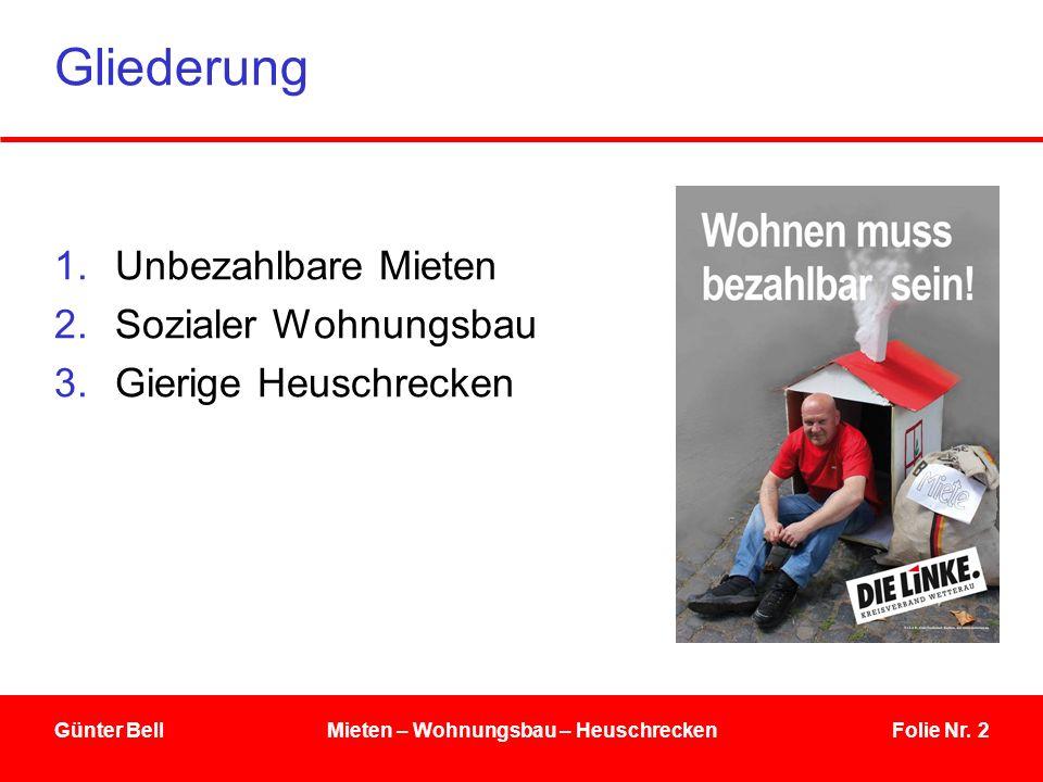 Folie Nr. 2Günter BellMieten – Wohnungsbau – Heuschrecken Gliederung 1.Unbezahlbare Mieten 2.Sozialer Wohnungsbau 3.Gierige Heuschrecken