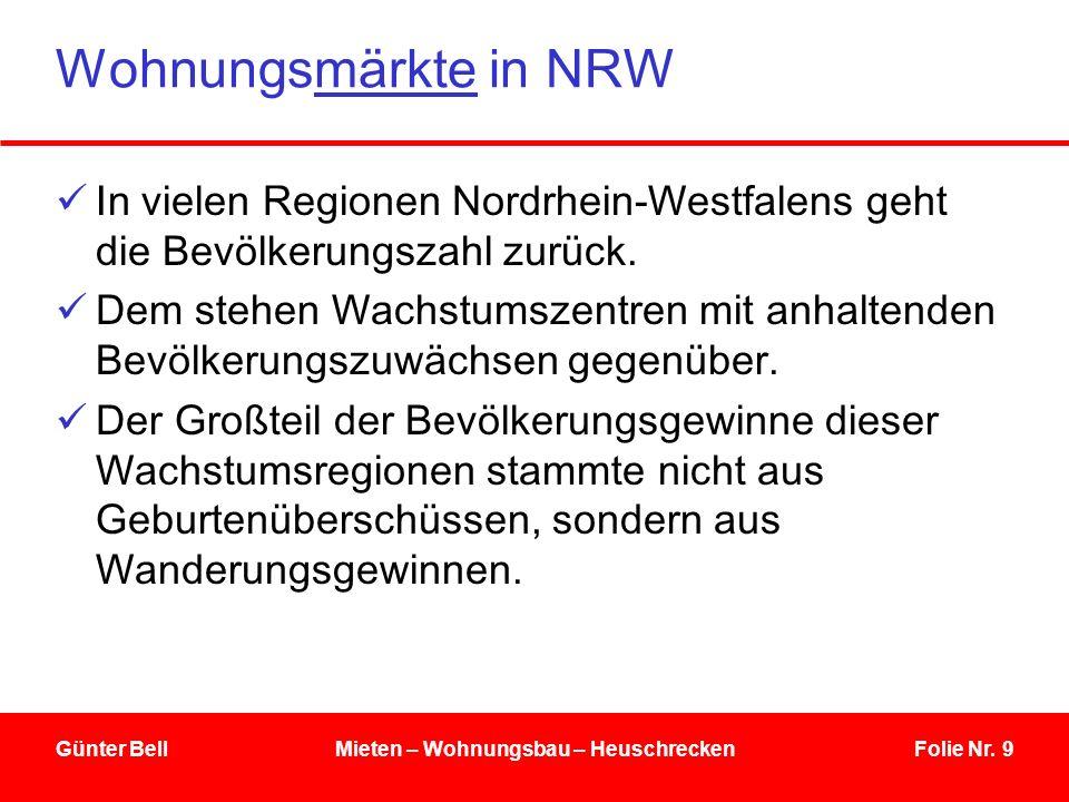 Folie Nr. 9Günter BellMieten – Wohnungsbau – Heuschrecken Wohnungsmärkte in NRW In vielen Regionen Nordrhein-Westfalens geht die Bevölkerungszahl zurü