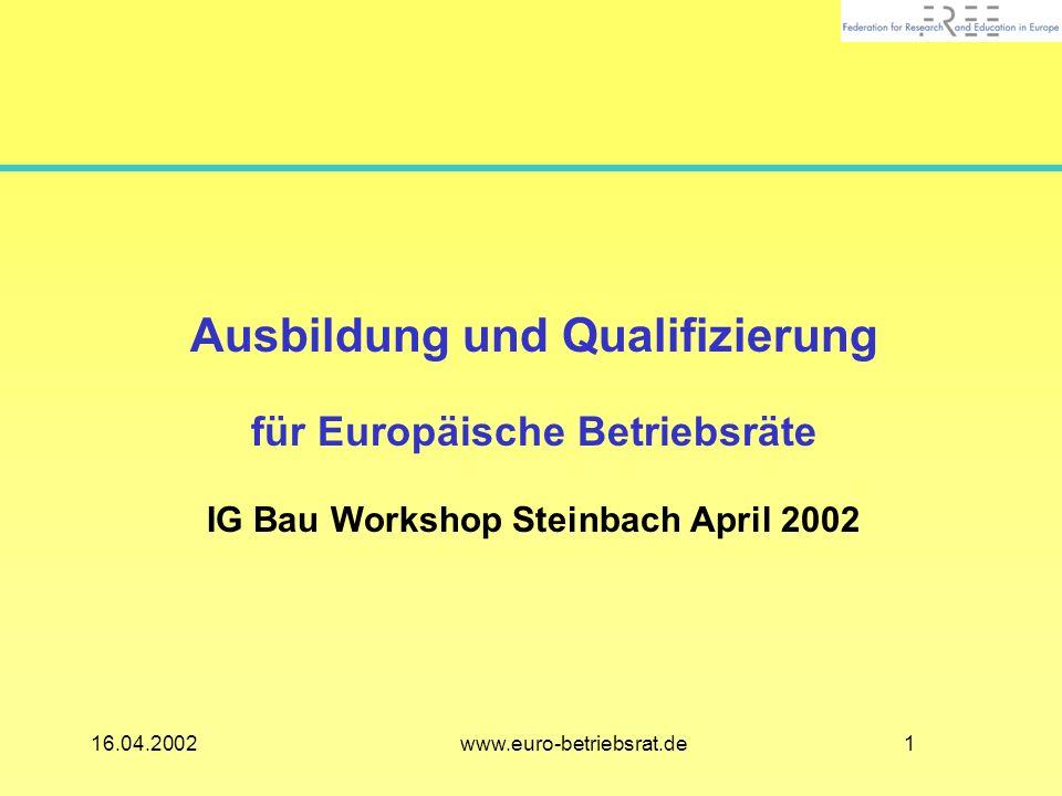 116.04.2002 www.euro-betriebsrat.de Ausbildung und Qualifizierung für Europäische Betriebsräte IG Bau Workshop Steinbach April 2002