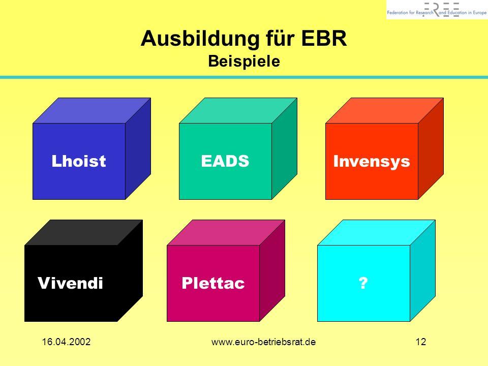 1216.04.2002 www.euro-betriebsrat.de Ausbildung für EBR Beispiele LhoistEADSInvensys Vivendi?Plettac