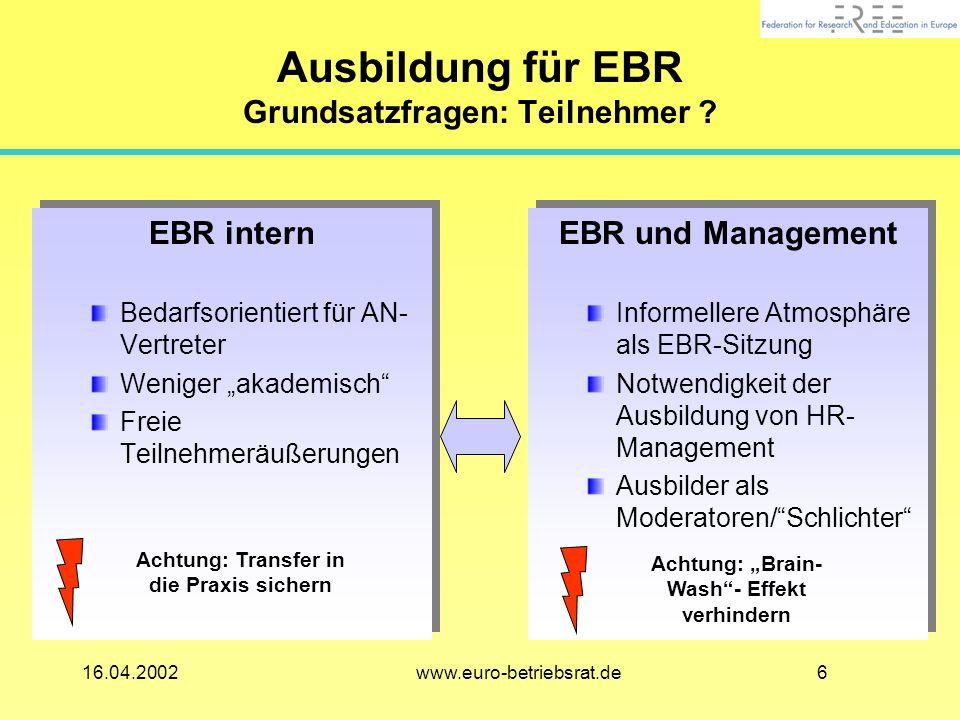616.04.2002 www.euro-betriebsrat.de Ausbildung für EBR Grundsatzfragen: Teilnehmer .