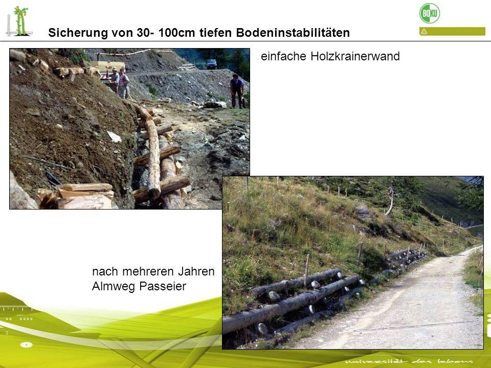 Sicherung von 30- 100cm tiefen Bodeninstabilitäten Einfache Holzkrainerwand